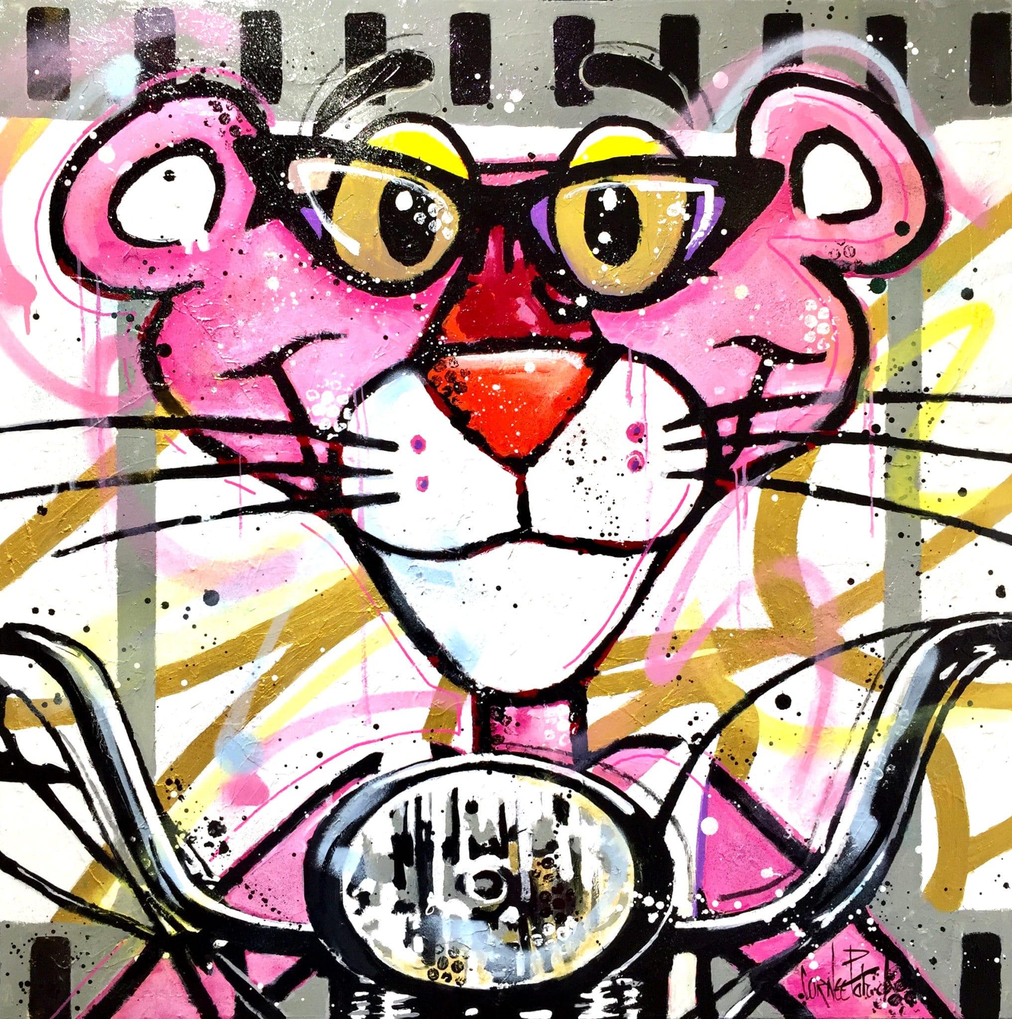 Tableau pop art Panthère rose