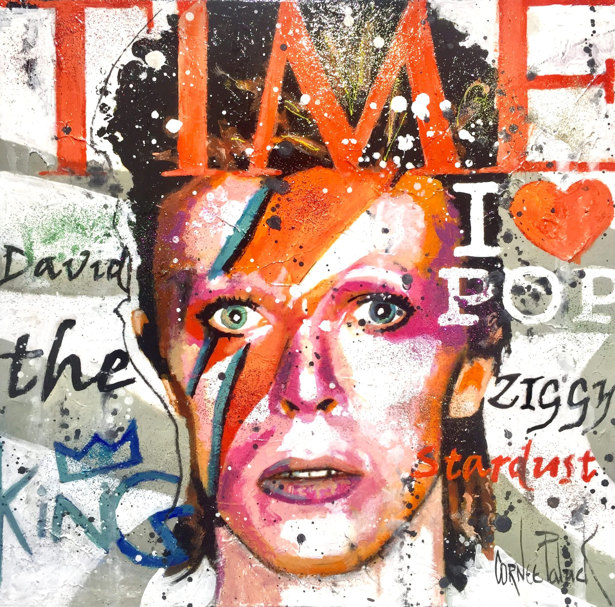 Tableau portrait pop art David Bowie