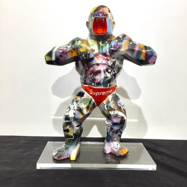 Sculpture résine gorille, pièce unique