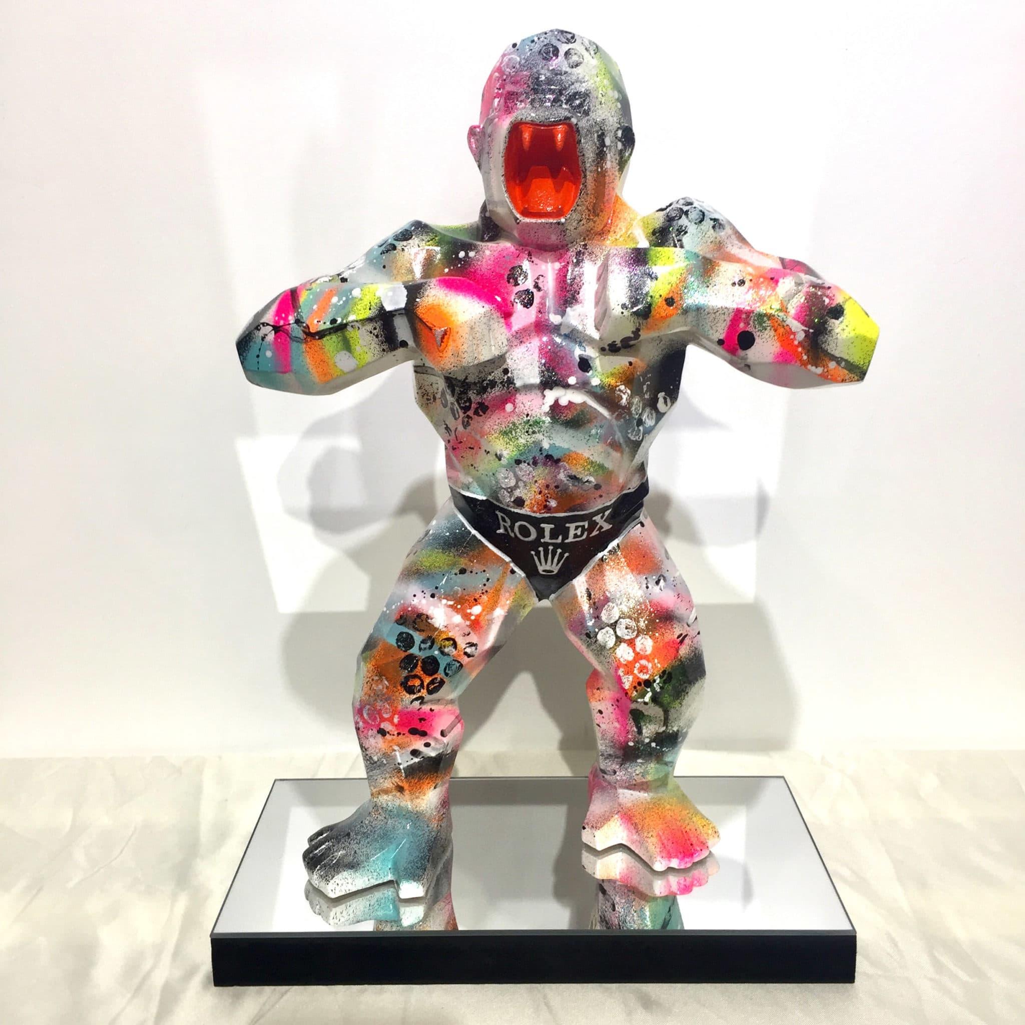 Sculpture graffiti gorille Rolex